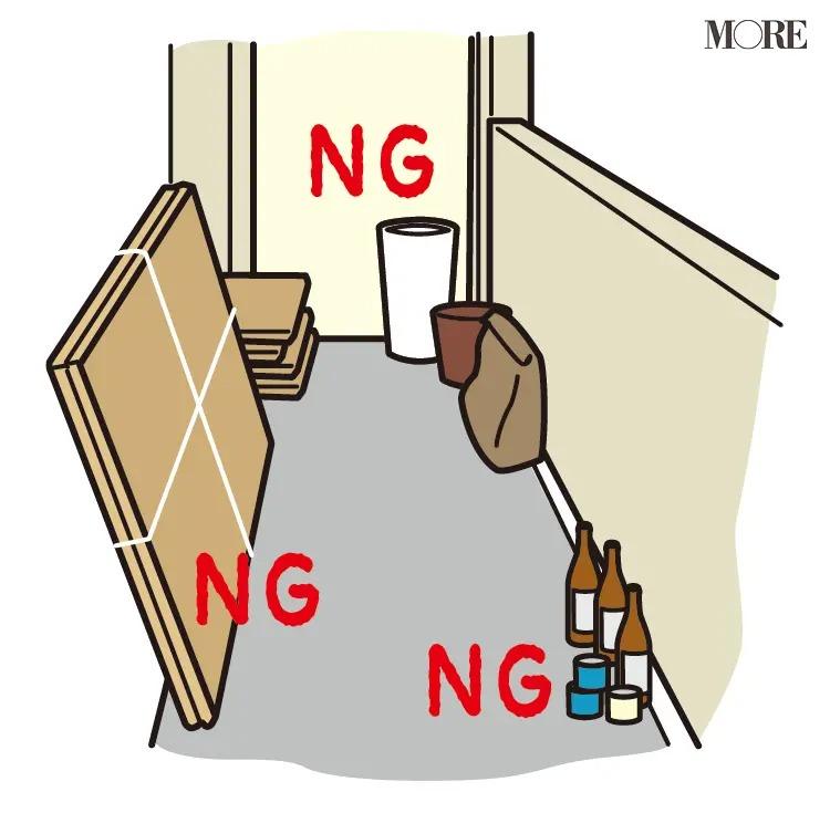 風水ではNGとされるベランダに置かれた瓶と段ボールと不要な家具