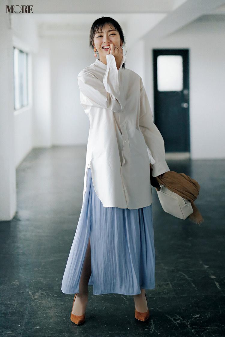 【今日のコーデ】<内田理央>クリーンな白シャツにきれい色スカート。どっちも長め丈で今っぽくこなれて♪_1