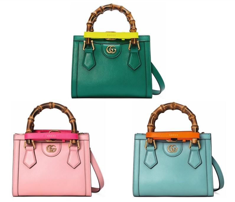 グッチの新作バッグ「グッチダイアナ」ミニサイズ、ピンクなど色物3つ
