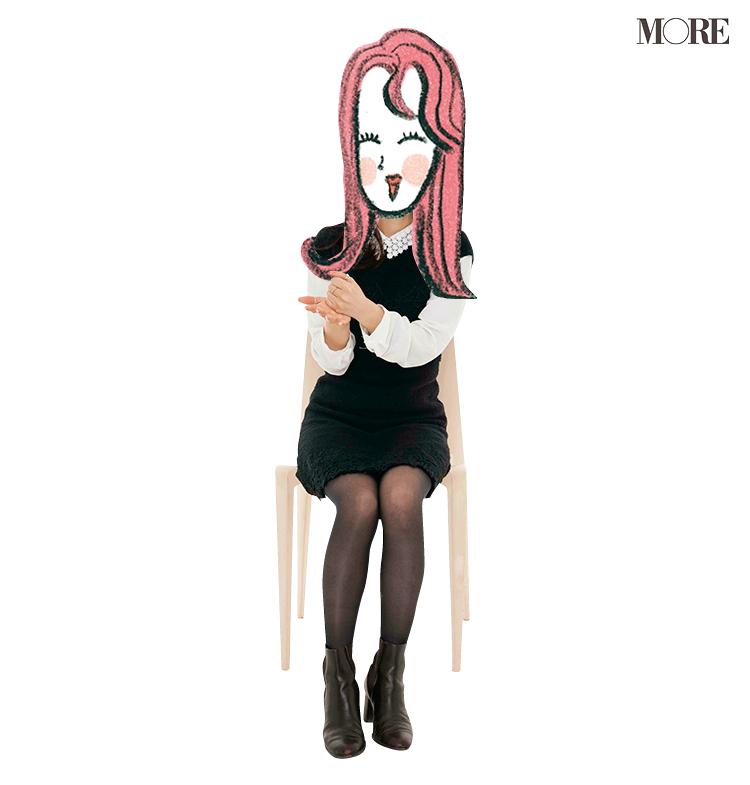 A子さんが椅子に座っている様子。顔部分はイラスト。