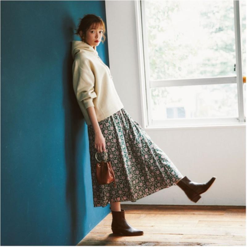 ファッション,2018,秋,花柄,コーデ