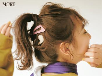 【髪アクセでヘアアレンジ1】内田理央のビッグパッチンピンでつくるカジュアルポニー