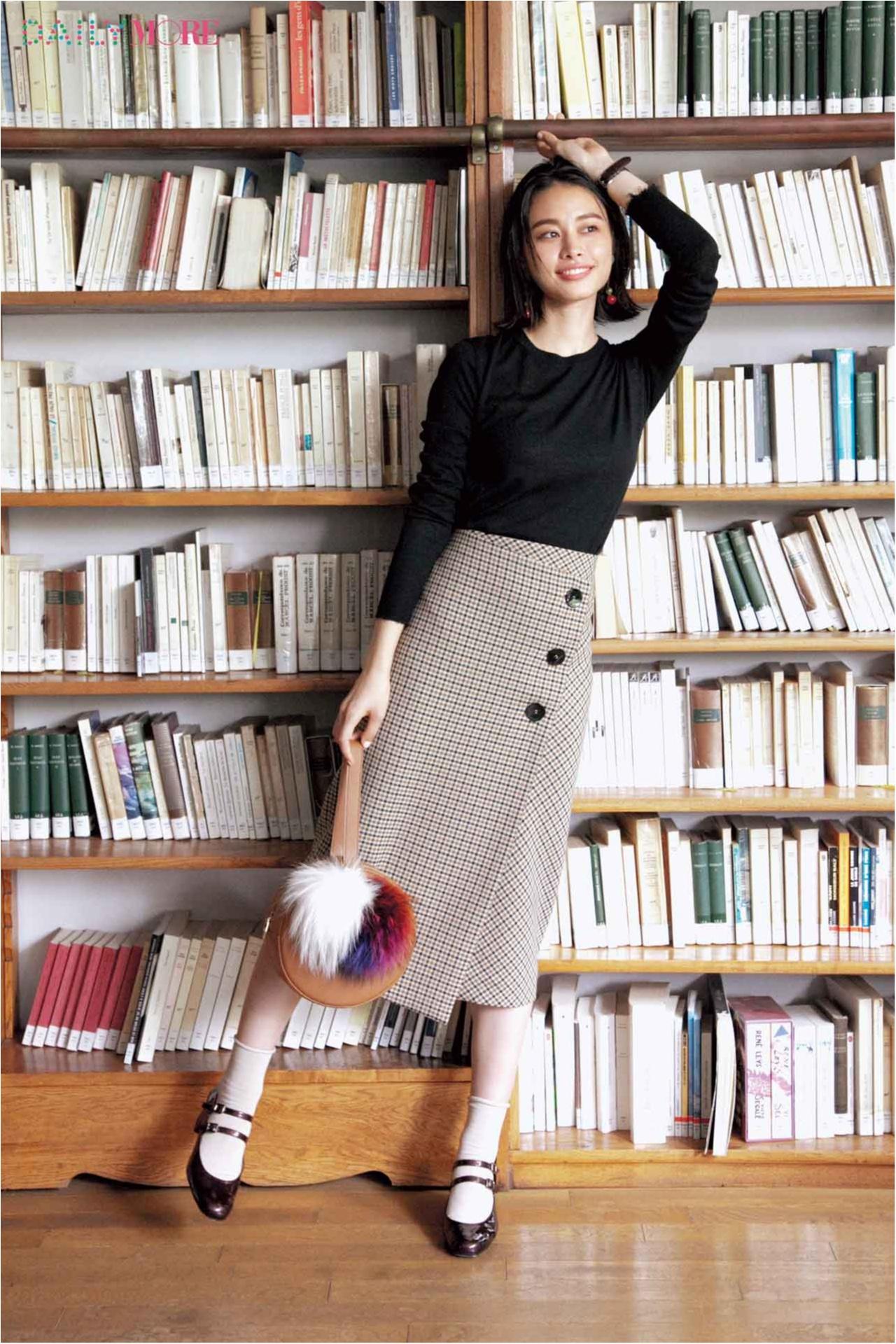 """【今日のコーデ/西本有希】""""今年っぽい""""を一枚で叶える、チェックのラップスカートを味方につけて。_1"""