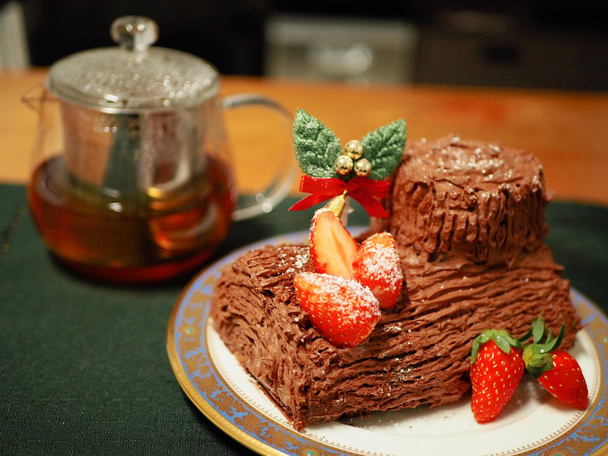 【#手作りクリスマスケーキ】簡単!ブッシュドノエルの作り方♡_1