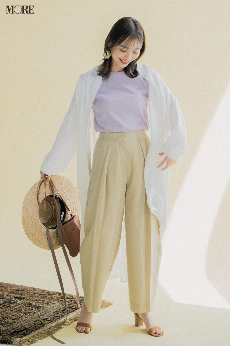 【今日のコーデ】淡色コーデにラベンダーTシャツを着た内田理央