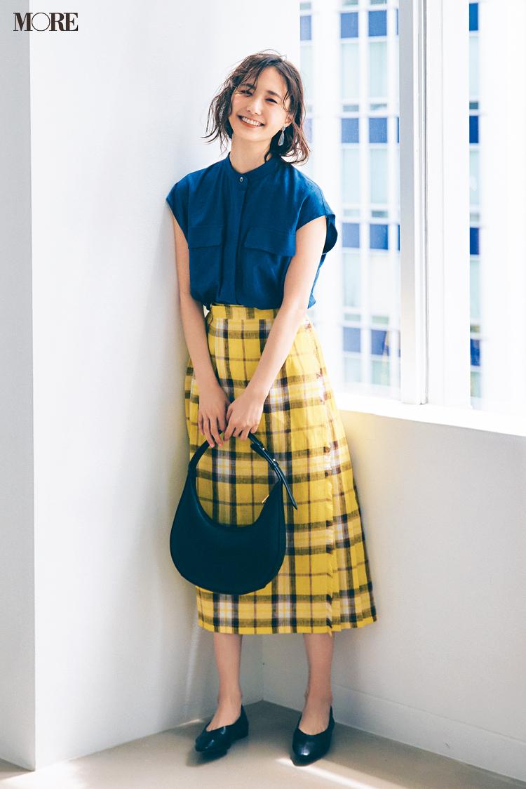 【今日のコーデ】<鈴木友菜>たまにはガーリー気分♡イエローのチェック柄スカートで身も心も華やいで_1