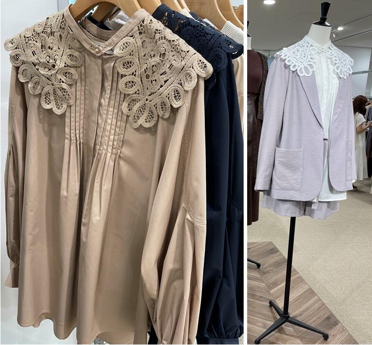 ココディール秋冬展示会で見つけたレース衿のシャツ