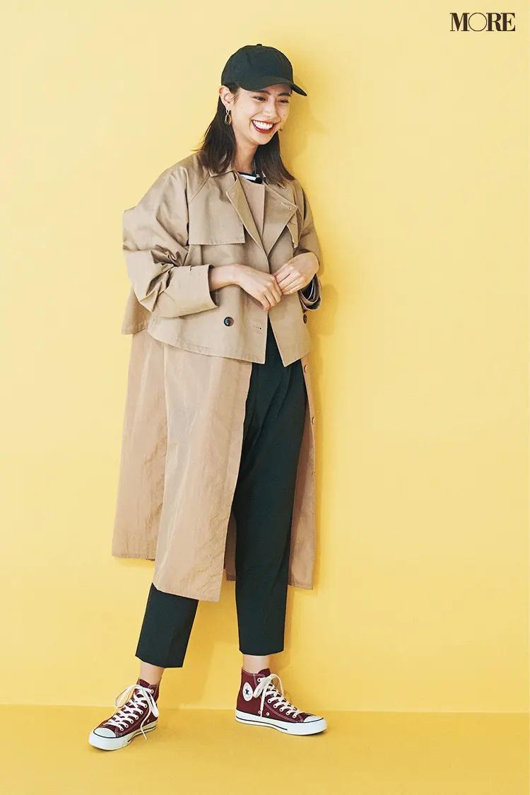 【スニーカーコーデ】春コートとキャップ&パンツのコーデ