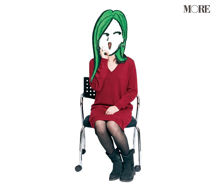 B子さんが椅子に座っている様子。顔部分はイラスト。