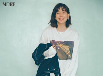 【今日のコーデ】<本田翼>レディなスカートをビッグTシャツでハズして遊び心いっぱいの休日に!