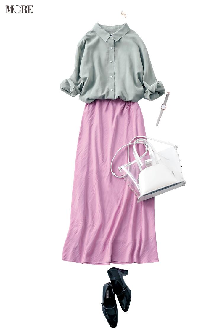 【今日のコーデ】ストックしてたコーデの出番!美人なサテンスカートでオフィスカジュアルを格上げして_1