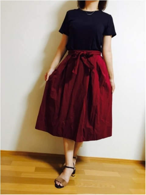 【GU】にて秋アイテム購入★《ウエストリボンフレアスカート》_5