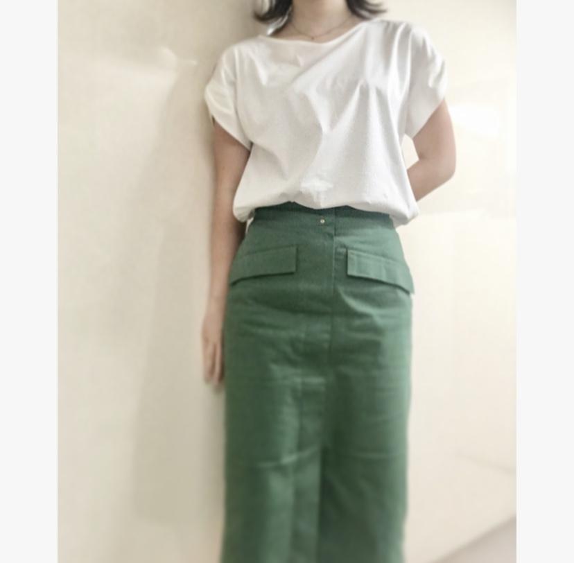 【オフィスコーデ】グリーンスカートでツクる3変化_2