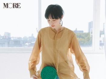 【今日のコーデ】デートびよりの土曜はシアー素材のシャツでデニムカジュアルをほんのり女っぽく♡ <比留川 游>