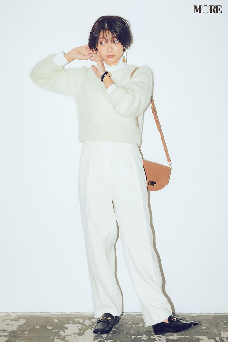 白ニットコーデ【2020冬〜春】- 着膨れしない細見えテクニックなど、白い服の最旬レディースコーディネートまとめ_33
