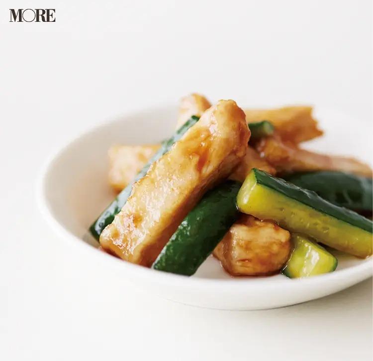 【作り置きお弁当レシピ】4. ゆで鶏むね肉の「きゅうりのオイスター炒め」