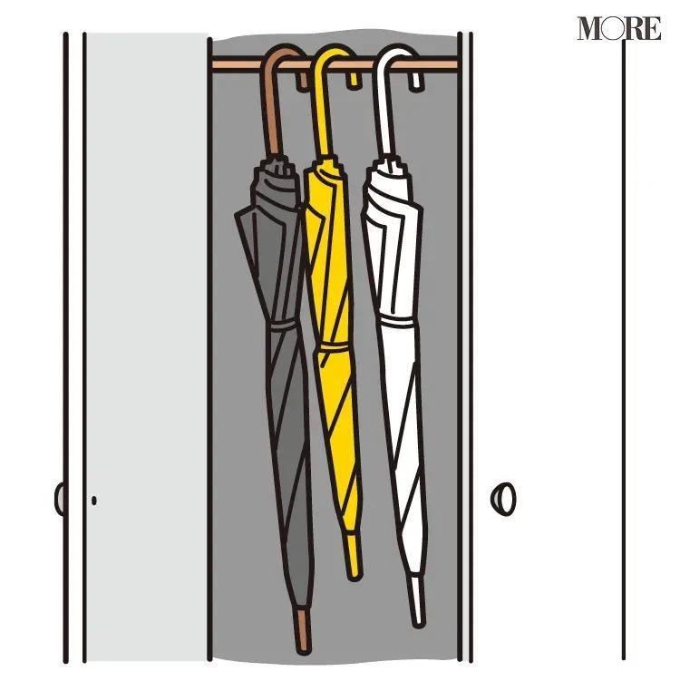 風水の開運掃除法で傘が収納された棚