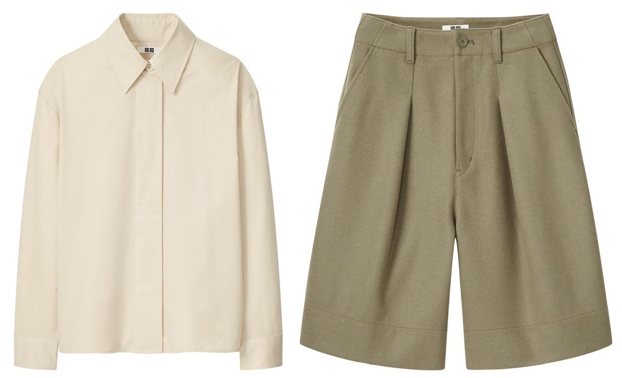 ユニクロユーのシャツジャケットとショートパンツ