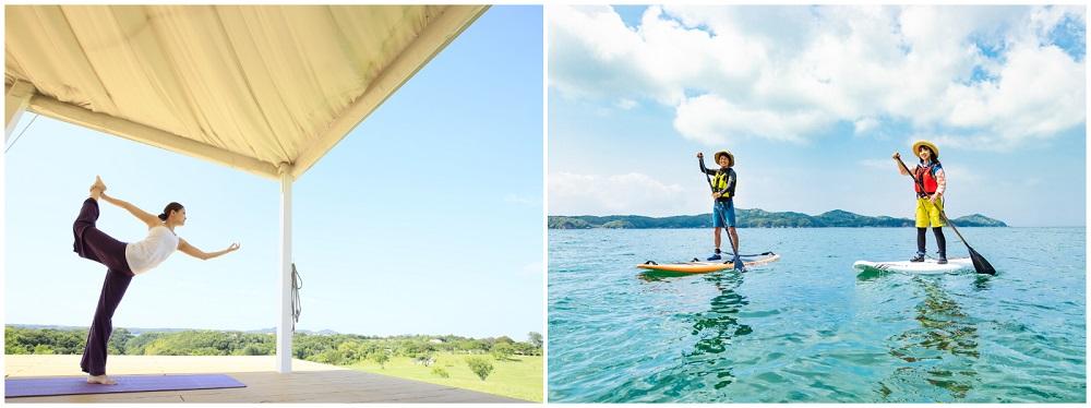 【三重県・伊勢志摩のおしゃれホテル】『ネムリゾート』体験アクティビティの例(左)朝ヨガの様子(右)SUPの様子