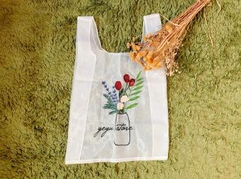 【エコバッグ】《フラワー刺繍×シースルー》が可愛い韓国のエコバッグ♡