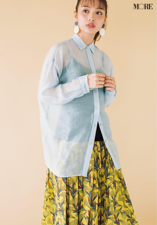 シースルーシャツのコーデ特集 - 透けるシャツ・ブラウスのおしゃれなコーディネートまとめ_13