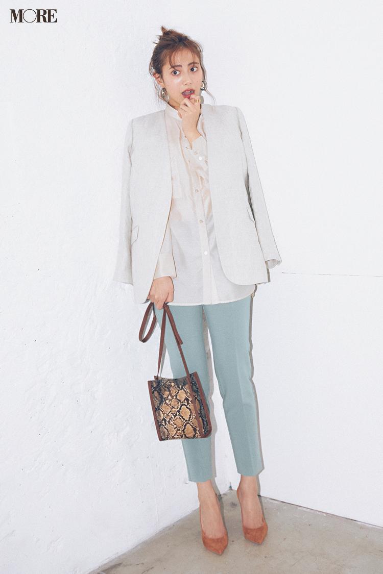 【今日のコーデ】<土屋巴瑞季>きれい色パンツがはきたくなったらほかをなじみ色で統一するのがお約束!_1