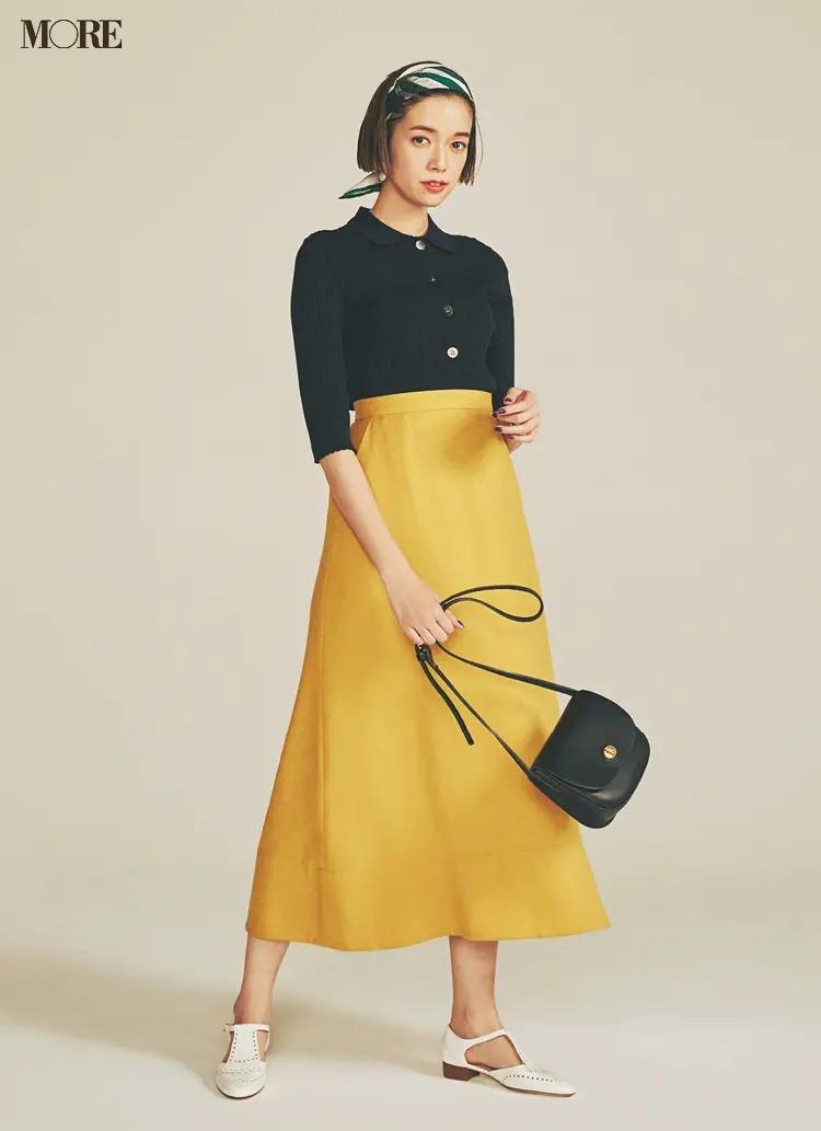 【2020夏コーデ】ドレッシーさを知的に仕上げるネイビーと、イエロー×フレアな裾