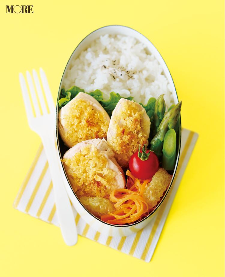 【作り置きお弁当レシピ】簡単!ゆで鶏をちょいアレンジしてリッチなおかずに。副菜のアスパラとにんじんで彩りも◎。_1