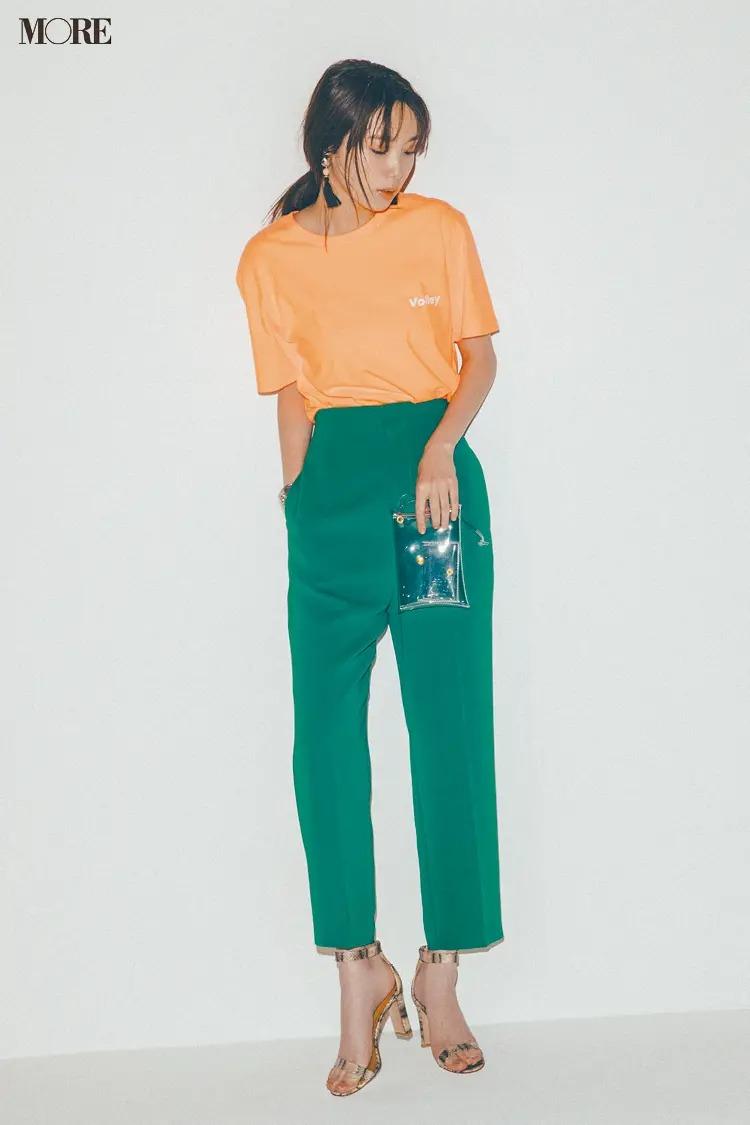 【2020夏コーデ】鮮やかなオレンジ×グリーンでTシャツコーデにヘルシーな女っぽさを