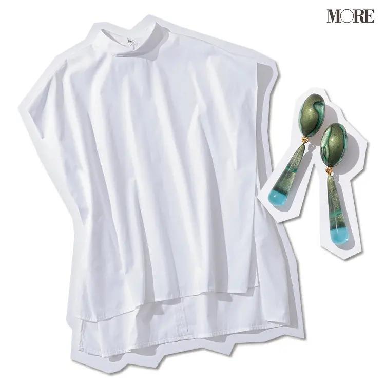 《フレンチスリーブで着痩せ》立体的な袖には二の腕の幅を視覚的に抑えてくれる