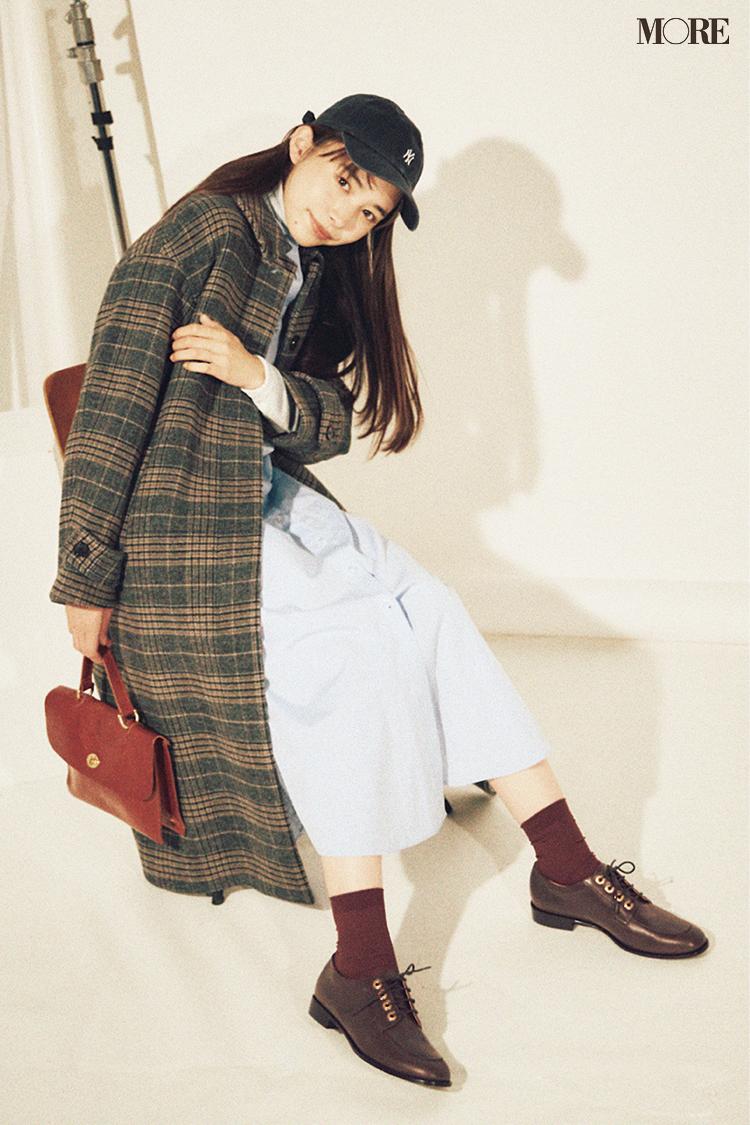 【今日のコーデ】チェックのコートとロングブーツの井桁弘恵
