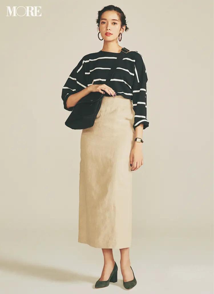 【夏のボーダーコーデ】+1サイズのトップスなら、タイトスカートをもっと華奢見せできる