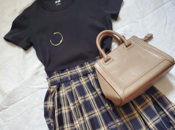 秋のフレンチシックコーデ【GU(ジーユー)】チェックスカートが使える!