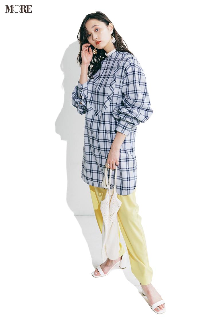 【今日のコーデ】<鈴木友菜>猛暑続きで夏バテぎみ。チェック柄シャツにカラーパンツで元気をチャージして♪_1