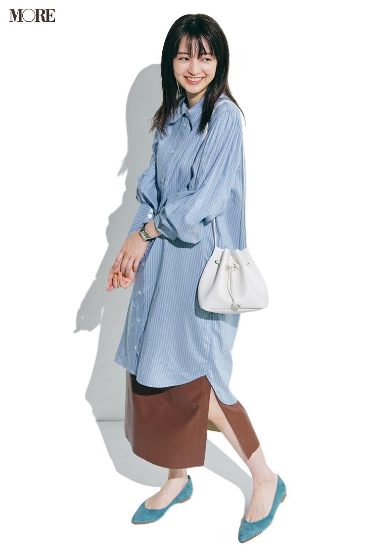 【今日のコーデ】<逢沢りな>内勤デーはロングシャツ+ロングスカートのおしゃレイヤードでほめられ率UP!_1