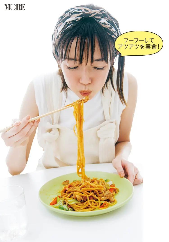 滋賀県からお取り寄せしたホルそばを食べる佐藤栞里