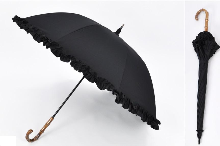 サンバリア100の黒いフリルつき日傘