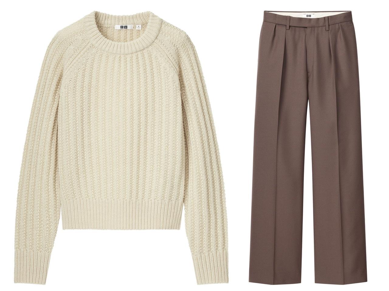 ユニクロユーのセーターとタックパンツ