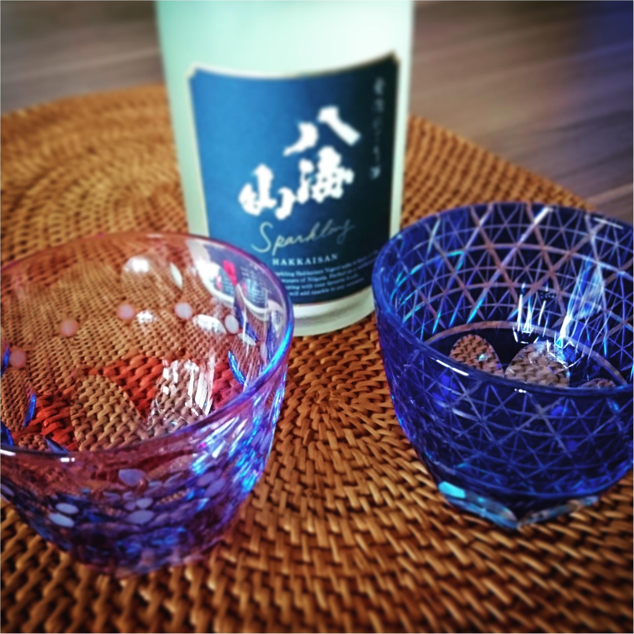涼しげなグラスで楽しむ日本酒♡_1