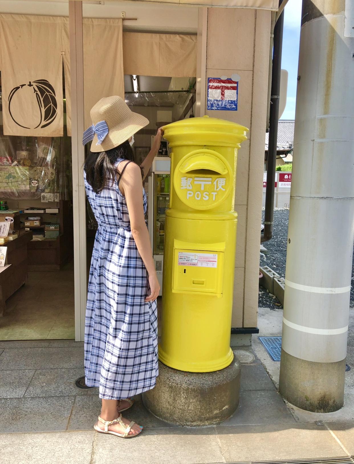 広島県尾道市瀬戸田町レモン島の黄色いポスト