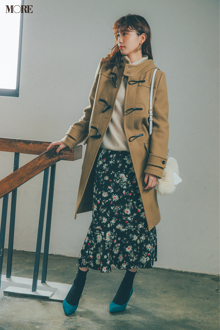 【今日のコーデ】<飯豊まりえ>自分史上最高ダッフルコート今季初登場♡花柄スカートとの最愛コーデで_1