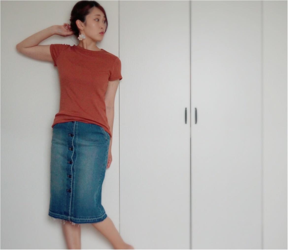 【Q♡code】UNIQLO《リブクルーネックT》×GU《デニムフロントボタンスカート》でプチプラコーデ❤️_4