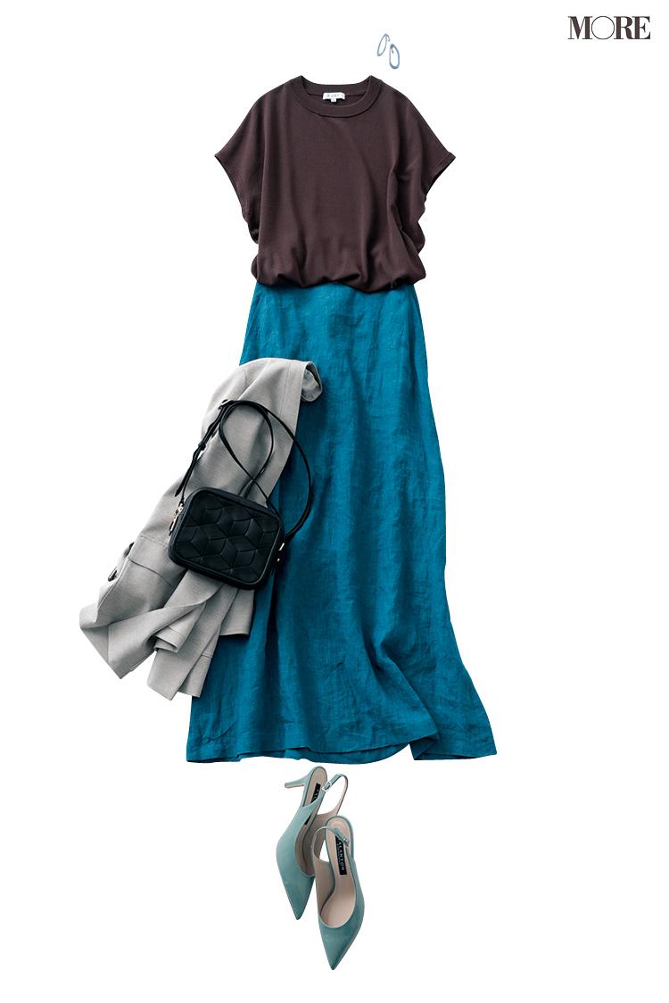 スカート派はどうやってきれい色を取り入れる? 使える4着で6コーデ着回し!_3