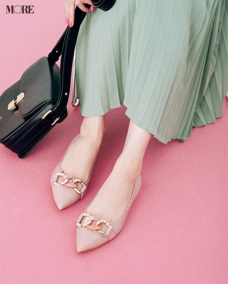 お仕事にも履いていきたいピンクのぺたんこ靴