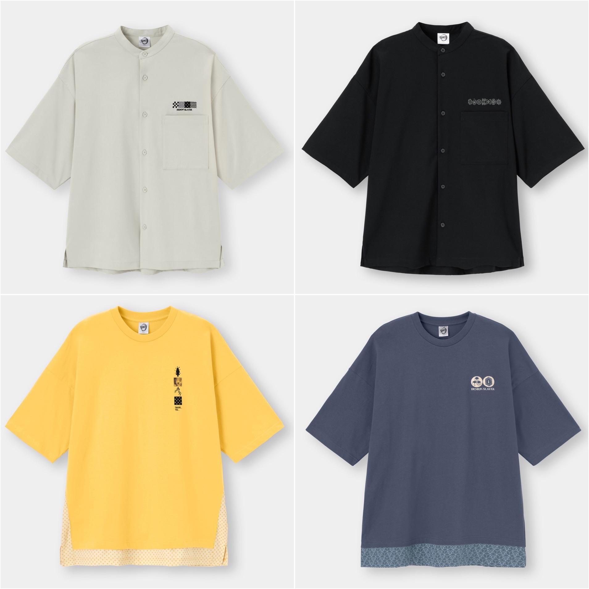 GU×鬼滅の刃メンズのオーバーサイズシャツとルーズフィットT