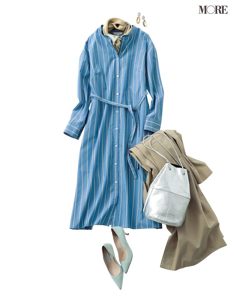 「スカーフだけベージュ」がおしゃれ見えに効果抜群! この春人気なブルーのシャツワンピース・着こなし3選_2