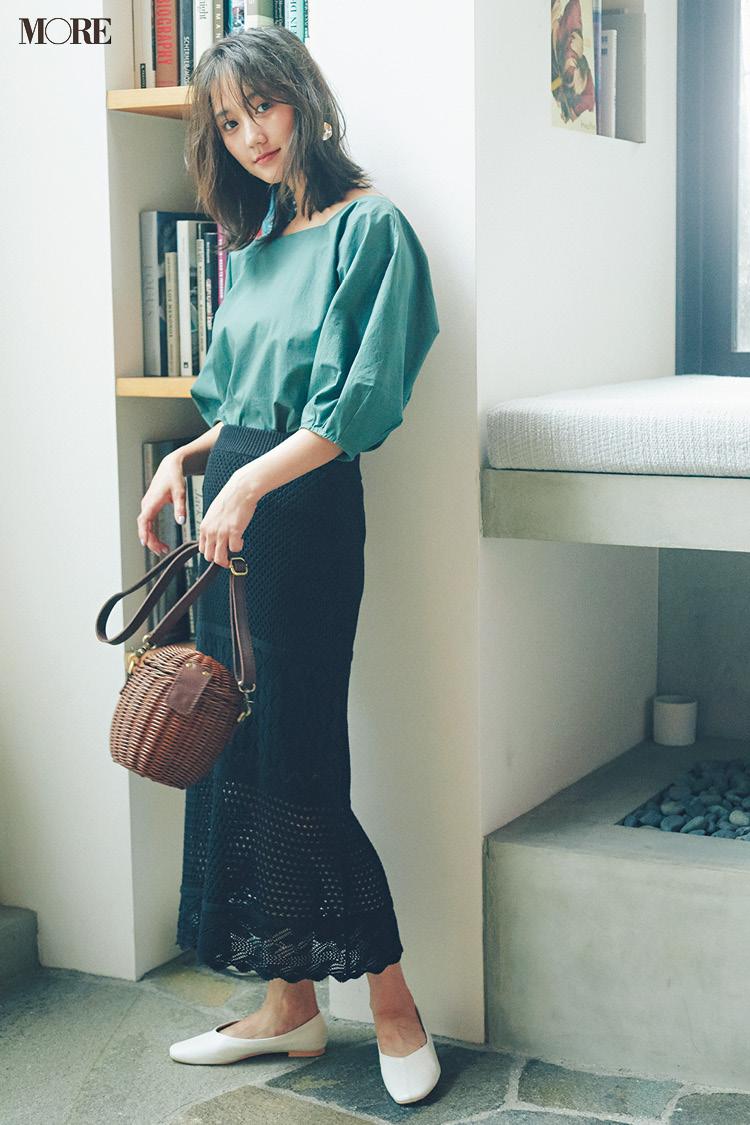 【今日のコーデ】<鈴木友菜>夜はデートの約束♡黒のクロシェ編みタイトスカートでフェミニンに_1