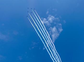 【ブルーインパルス】見えた!大感動!東京上空に5色のカラースモーク★五輪マークも♡