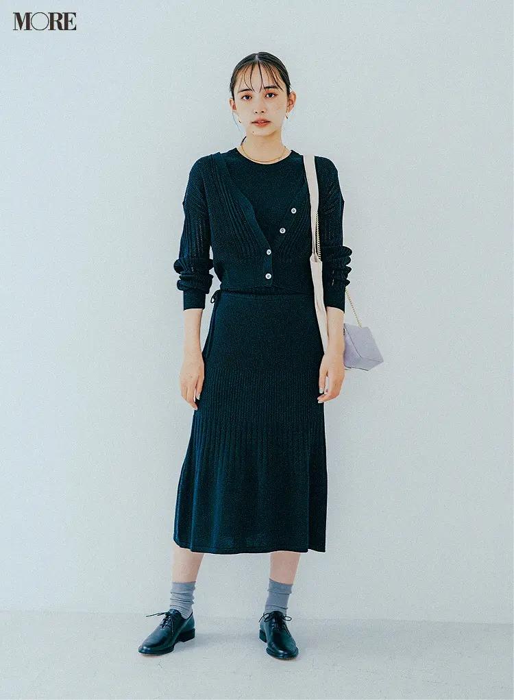 【秋冬カーディガンコーデ】カーデとセットで着るニットワンピース