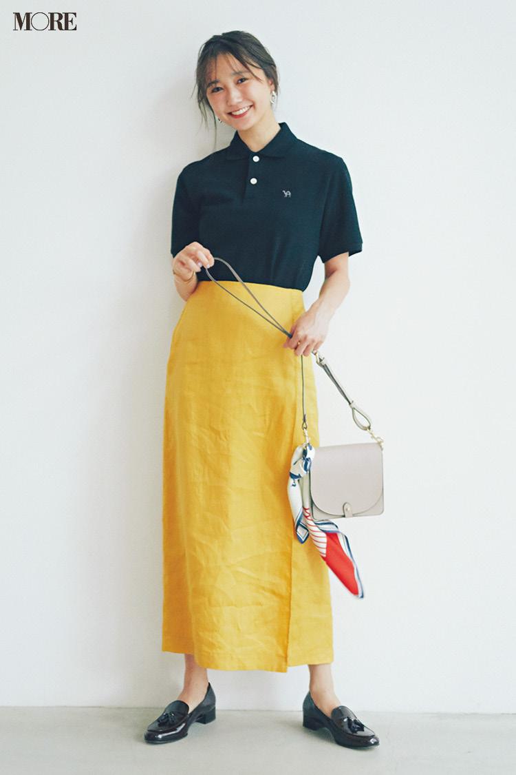 【今日のコーデ】<鈴木友菜>カジュアルだけどONモード。イエローのスカートで残暑のオフィスカジュアルを格上げ!_1
